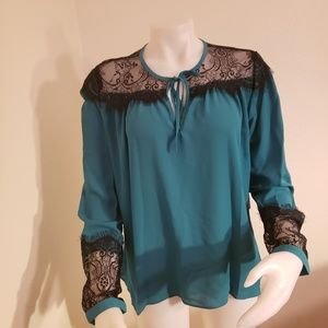 Nicole Miller lace tie neck long sleeve blouse